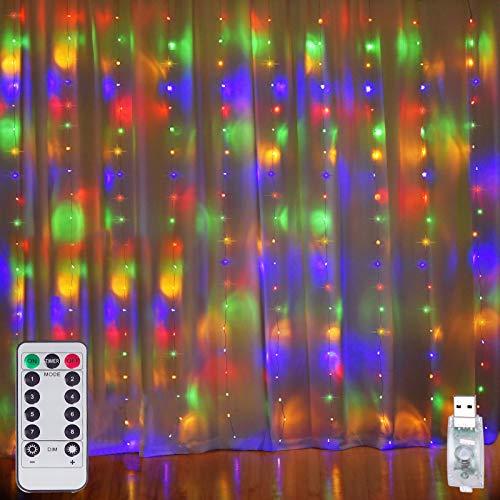 Cadena de luces para cortina de ventana, 280 LED, 8 modos de iluminación, impermeable, control remoto USB, luces de hadas para dormitorio, Navidad, fiesta, boda, hogar, jardín, decoración de pared