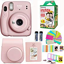 Fujifilm Instax Mini 11 Camera with Fuji Instant Film Twin Pack + Pink Case, Album, Stickers, and More (Blush Pink)
