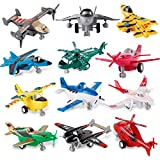 Liberty Imports Set of 12 Pull Back Airplanes Vehicle Playset - Variety Pack of Helicopters, Stealth Bombers, Fighter...