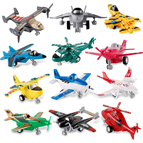 Liberty Imports Set of 12 Pull Back Airplanes Vehicle Playset - Variety Pack of Helicopters, Stealth Bombers, Fighter Jets, Aircraft, Planes and More!