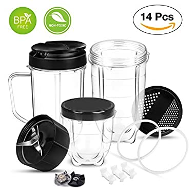 Magic Bullet Blender Replacement Parts Cross Blade Cups Lids Gaskets Gear 14 Piece Set Compatible with Magic Bullet Blender Juicer Mixer 250W Accessories