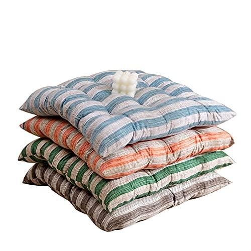 Cojines de silla de comedor de 40 x 40 cm Conjunto de 2 almohadillas de jardín de asiento de patrón de rayas con corbatas de interior y al aire libre grueso suave cómodo para la oficina del patio de l