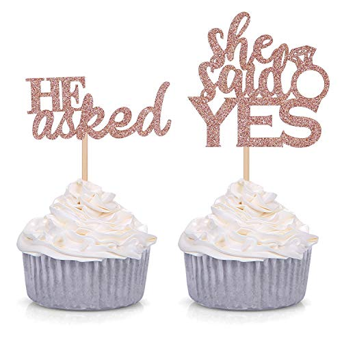 24 Counts Glitter He Asked She Said Yes Cupcake Toppers Engagement Party Decorations - Rose gold
