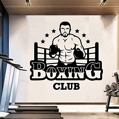 Boxing Club Wall Vinyl Wall Stickers Club Decor Girls Bedroom Sticker Para Gym Company Decoración Mural Poster 58X54Cm