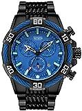 Relojes de cuarzo para hombre, cronógrafo, calendario, cronógrafo, correa de acero, reloj de cuarzo, resistente al agua, reloj de negocio, color negro y azul