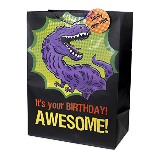 """Hallmark 20"""" Oversized Dinosaur Gift Bag (T-Rex, It's Your Birthday! Awesome!) for Birthdays, Kids Parties and More"""