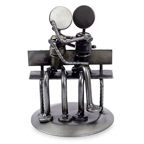 """NOVICA Recycled Auto Parts Romantic Metal Sculpture, 4.7"""" Tall 'Park Bench Sweethearts'"""