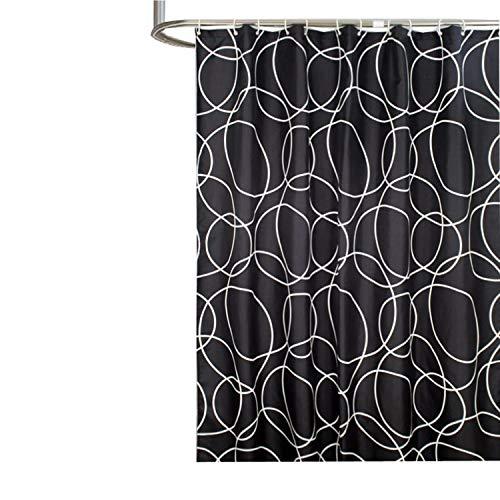 MaxAst Kreis Duschvorhang Anti Schimmel, Schwarz Badewanne Vorhang 80x180CM, Antibakteriell Wasserdicht mit Kunststoff Ringe Kein Rost