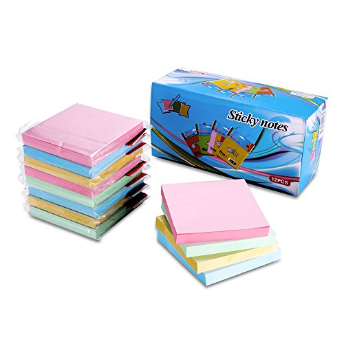 Sticky Notes, 12 Packs Post it Notes with Strong Viscosity & Easy Post?3x3 inches,100 Sheets per Pack, self-Sticky Notes with 4 Bright Colors, Individual Package.