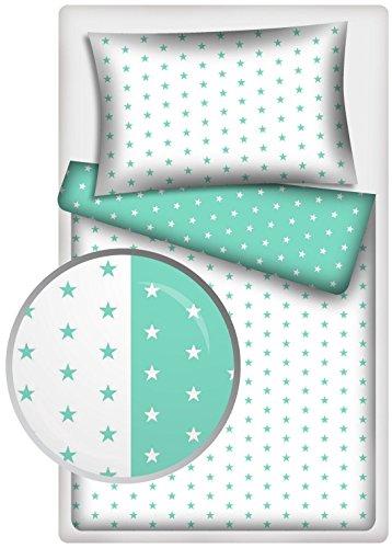 2 pièces Parure Lit Bébé astérisque blanc + Turquoise Taille 100 x 135 cm (40 x 60 cm)