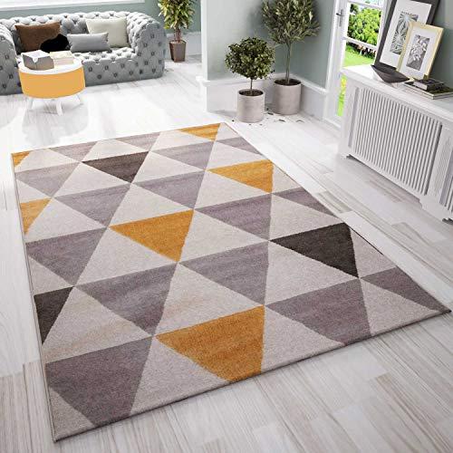 VIMODA - Alfombra para salón, dormitorio, pasillo, diseño triangular, color amarillo, tamaño: 120 x 170 cm