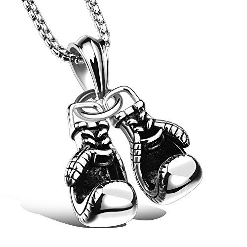 iLove EU Edelstahl Anhänger Halskette Silber Doppelt Boxhandschuhe Handschuhe Motorradfahrer Biker Herren,mit 55cm Quadrat Kette