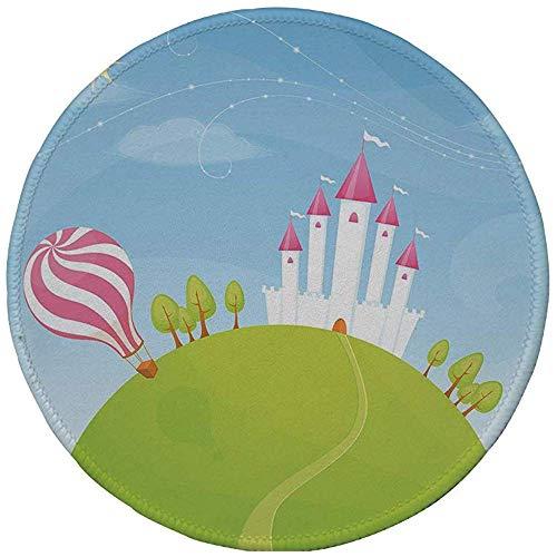 Rubber ronde muismat, Cartoon decor, Fantasy kasteel op de top van de heuvels en Hot Air Balloon in Sunny Sky Day Kids Art, Multi