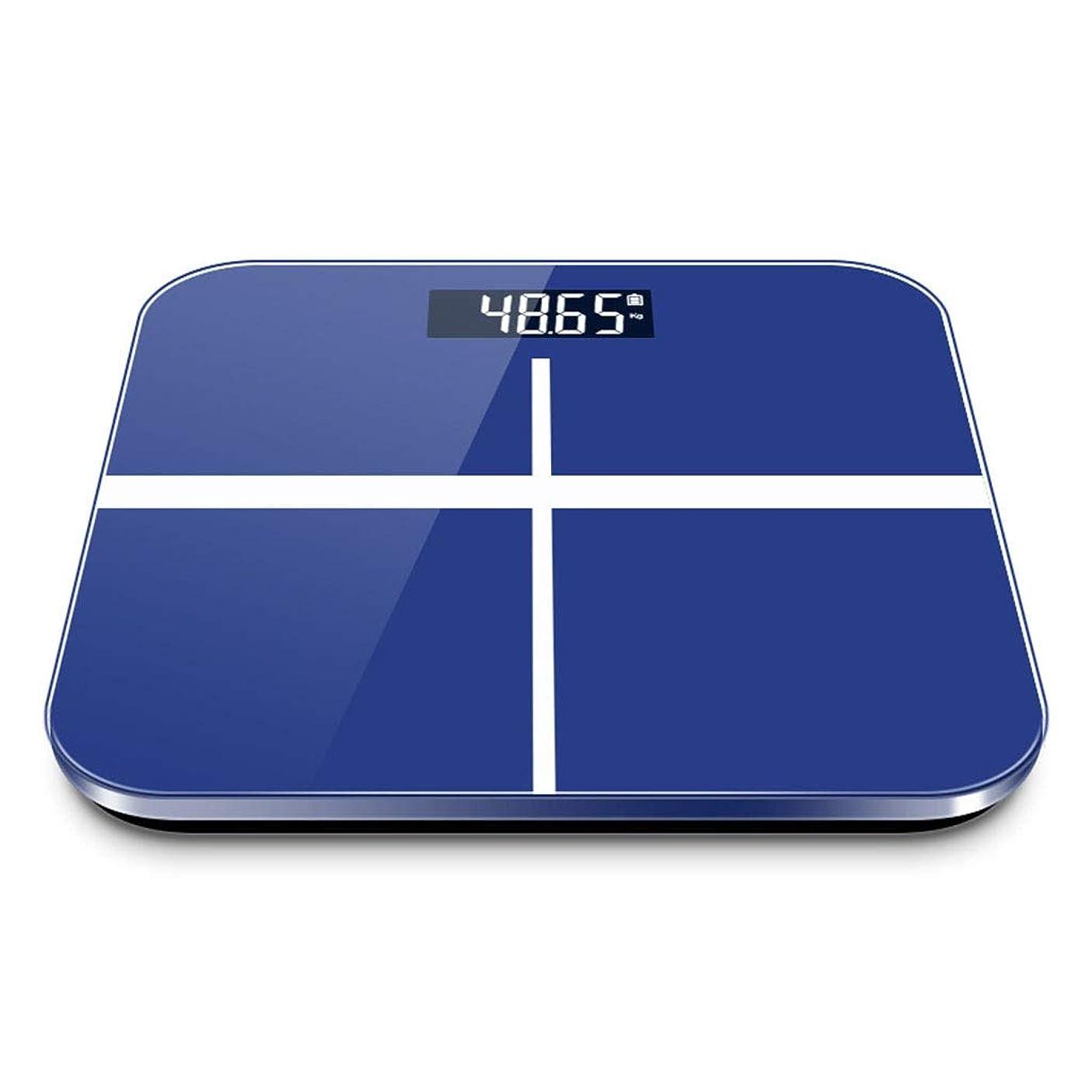 橋脚支配するオーク人間の健康のスケールの測定のメートル/インチシステム、デジタル表示装置電池様式を読みやすい高精度の重量を量る浴室のスケールの電子体重計の世帯 (色 : 青)