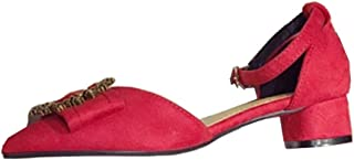 Sandals Heeled Sandals for Women Chunky Ankle Strap Unique Round Metal Ring & Bow Pointed Toe Faux Suede LIULICUICAN (Color : Red, Size : 35 EU)