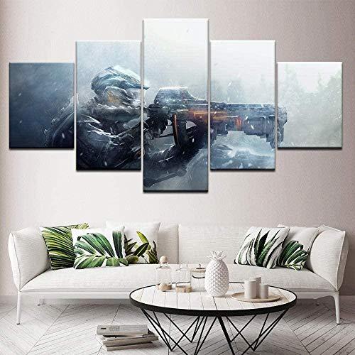 WxzXyubo Leinwand Malerei Gun Gaming 5 Stück Wandkunst Malerei Modular Wallpapers Poster Print für Wohnzimmer Wohnkultur 100 x 50 cm mit Rahmen