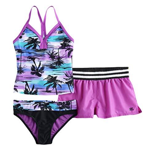 ZeroXposur Girls' Big Calypso Sway Two Oiece Swim with Short, Beet, 12