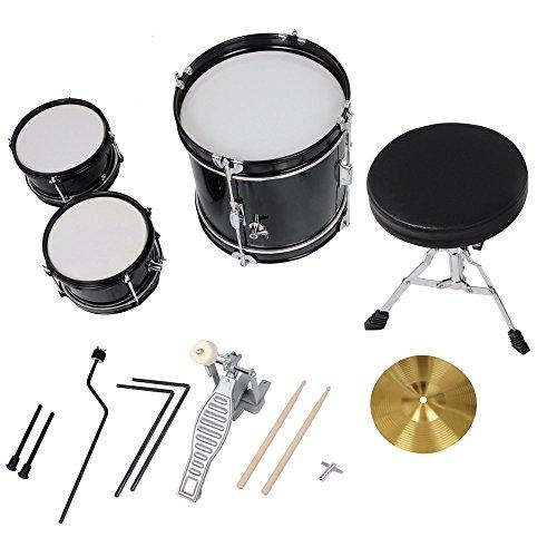 AW 3pcs Junior Kid Children Drum Set Kit Sticks Throne Cymbal Bass Snare Seat Black