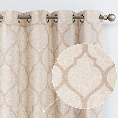 jinchan Moroccan Tile Linen Textured Curtains Printed Curtain Panels Bedroom Living Room Lattice Window Treatment 2 Panel Drapes 84 inches Long Beige