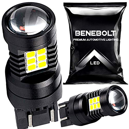 BENEBOLT 7440 LED Bulb 6000K White - Also as 7443 W21W T20 7441 7444 LED bulb - 325% Super Bright for LED Reverse lights - Brake light - Tail lights with HD Projector Lens and Cooling Vents - (2 Pack)
