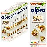 Alpro - 10er Pack Mandeldrink ohne Zucker 1 Liter - Mandel Almond Drink ungesüßt 100 % pflanzlich