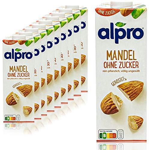 Alpro - 10er Pack Mandeldrink ohne Zucker 1 Liter - Mandel Drink ungesüßt 100 % pflanzlich