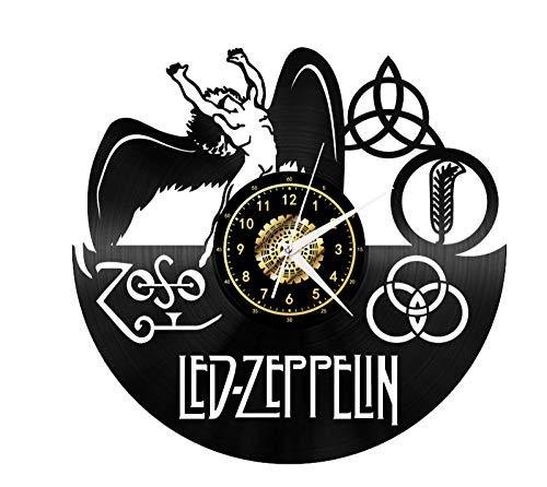 CNLSZM Orologio da Parete in Vinile 3D Creativo Orologio da Parete in Vinile retrò Orologio da Parete A LED Zeppelin Orologio da Regalo Decorazione Regalo-No LED
