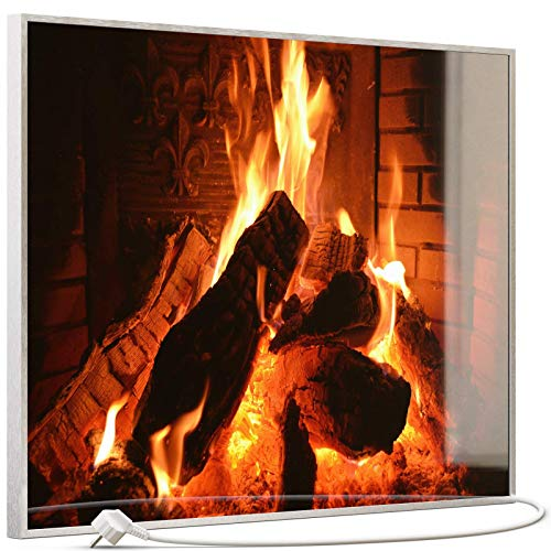 STEINFELD Heizsysteme® Glas Bild Infrarotheizung mit Thermostat | Kaminfeuer | viele Motive 350-1200 Watt Rahmen silber/alu (500 Watt, 032 Kamin)