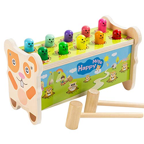 Enfants jouets hamster jouets de style minimaliste moderne précoce éducation imperméable à l'eau / 10 trous - jouet en bois de conception de marteau double jeu pour 1-3 ans bébé 25 * 12.5 * 14.5cm