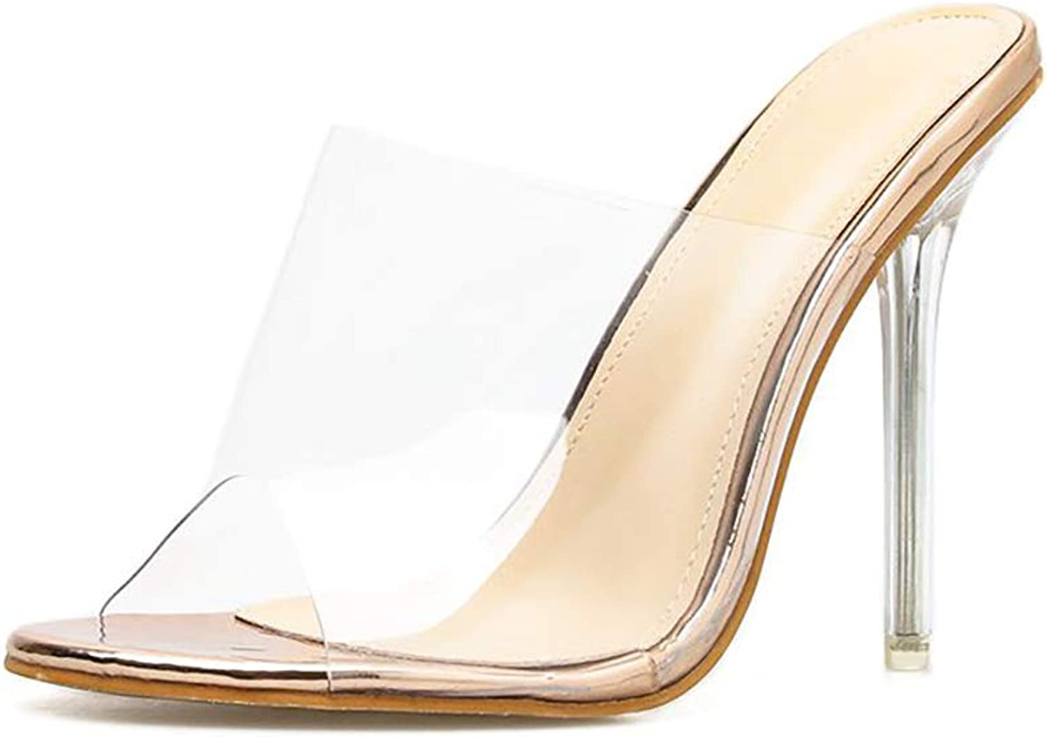 AZMODO PVC Open Toe Sexy Thin Heels Crystal Women Transparent Heel Slippers Sandals 819-1
