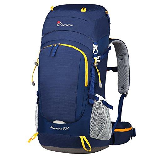 MOUNTAINTOP 50L Mochila de Senderismo Impermeable Multifuncion Mochila de Camping al Aire Libre con Cubierta de Lluvia para Trekking Viajes Montaña Acampada Escalada (Azul)