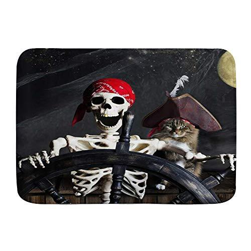 XWJZXS Alfombra de baño Antideslizante para , Divertido Barco Pirata, Terror, Gato, Noche, Luna, náutico, Absorbente, Alfombrilla de baño, Felpudo, ,