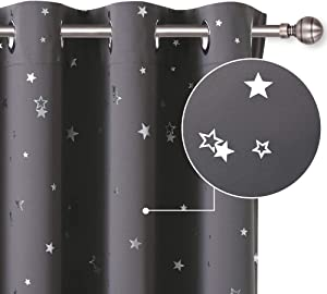 PONY DANCE Star Blackout Curtains - (W 52 x L 54 - inch, Grey, 1 Pair) Thermal Insulated Eyelet Top Foil Printed Blackout Curtain Panels with Twinkle Stars for Kids Bedroom