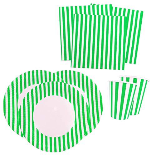 Papierdrachen Juego de fiesta con 36 piezas, diseño de rayas verdes, vajilla de fiesta con vasos, servilletas y platos de cartón para fiestas infantiles