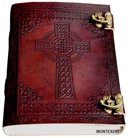 Large Giant Leather Journal Bound Handmade Vintage Genuine Brown Antique Old personal Diary Notebook Gift Unlined (Celtic Cross)