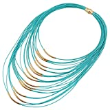 D EXCEED Ladies Gift Idea Jewelry Lightweight Multi Strand Statement Bib Necklace for Women Turquoise