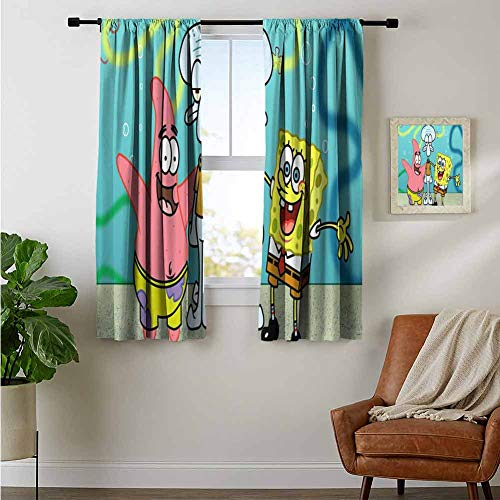 ZhiHdecor Bedroom Curtains Spongebob Squarepants Window Curtain for Living Room