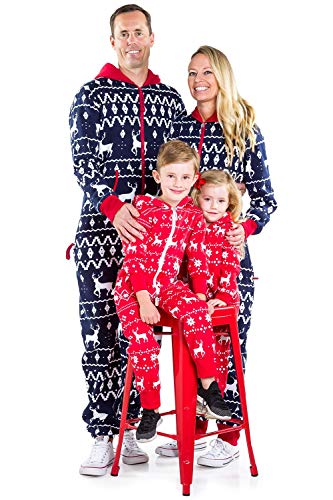 Tipsy Elves Baby Red Fair Isle Cozy Christmas Jumpsuit One Piece Pajamas - Cozy Infant PJ's for Christmas: 18-24M