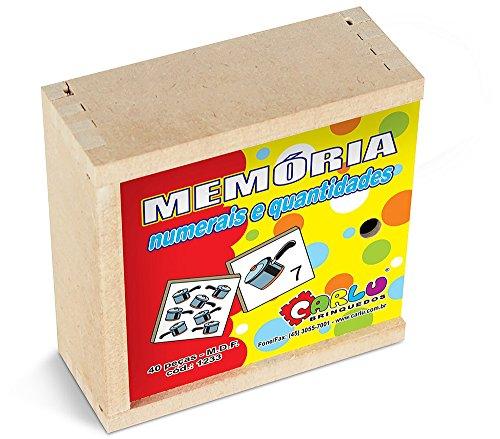 Carlu Brinquedos - Numerais e Quantidades Jogo da Memória 40 Peças, 3+ Anos, Multicor, 1233
