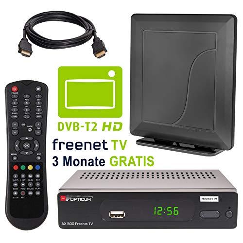 HB DIGITAL DVB-T/T2 Set: Opticum AX500 freenetTV HEVC DVB-T/T2 Receiver AX 500 + Opticum HD550 Antenne (Full HD H.265 HDTV HDMI SCART USB LAN Ethernet SPDIF DVBT DVBT2 DVB-T2 Irdeto Verschlüsselung)