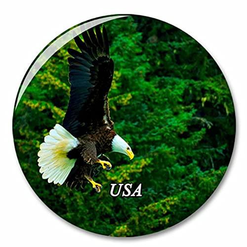 Estados Unidos América Águila Calva Skagway Alaska Imán de Nevera, imánes Decorativo, abridor de Botellas, Ciudad turística, Viaje, colección de Recuerdos, Regalo, Pegatina Fuerte para Nevera