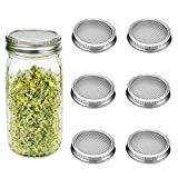 G.a HOMEFAVOR Sprouting Kit for Wide Mouth Mason Jars, 6 Pack, Stainless Steel Strainer Screen for Canning Jars for Making Organic Sprout Seeds In Your Kitchen