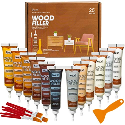 Katzco Furniture Repair Wood Fillers - Set of 25 - Resin Repair Compounds and Brushes with Plastic Scraper - For Stains, Scratches, Wood Floors, Tables, Desks, Carpenters, Bedposts