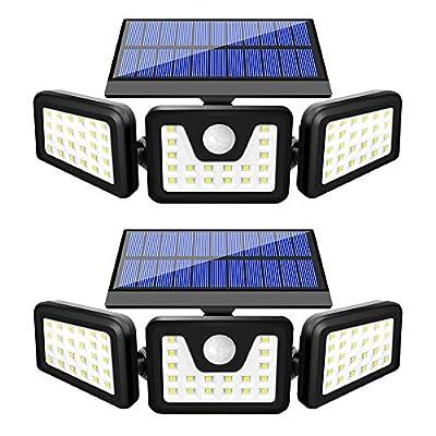 Solar Lights Outdoor, BEACON Solar Motion Sensor Lights Outdoor with 3 Adjustable Heads, Upgraded Flood Light Outdoor, IP65 Waterproof Wireless Wall Lights for Garage, Garden, Yard and Pathway