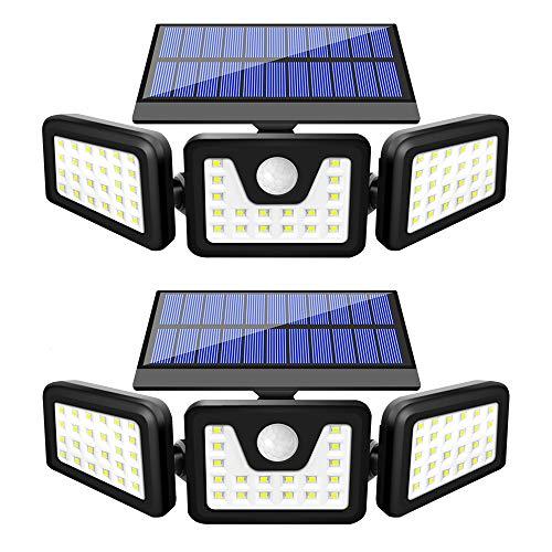 BEACON Solar Lights Outdoor, 800LM Wireless LED Solar Motion Sensor Lights Outdoor, 3 Adjustable Heads, 270° Wide Angle Illumination, IP65 Waterproof, Security LED Flood Light (2Pack)