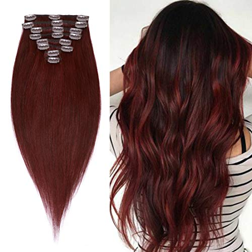 S-noilite Clip in Hair Extensions Real Human Hair Burgundy 8pcs 18 Clips 105g Full Head Clip on Human Hair Extension Soft Straight For Women (20Inch, 99J Wine Red)