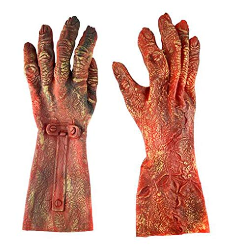 Halloween Party Costume Gloves Adult Latex Monster Hands By October Elf (Red Zombie)