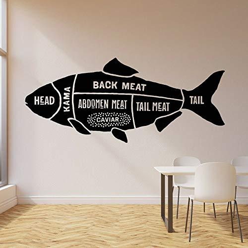 JXND Tienda de Pescado Tatuajes de Pared Hobby Animales Marinos guía de Pesca Marina Pegatinas de Vinilo para Ventanas decoración de Interiores a Prueba de Agua Mural de Arte 91x211cm