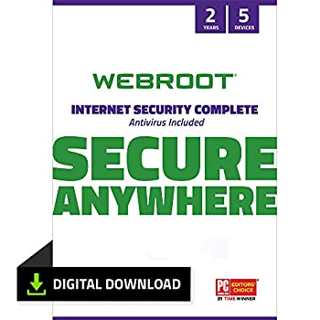 Webroot Internet Security Complete 2021 |Antivirus Software for 5 Device | 2 Year | PC Download | Includes Android IOS Password Manager System Optimizer and Cloud Backup