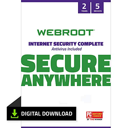 Webroot Internet Security Complete 2021 |Antivirus Software for 5 Device | 1 Year | PC Download | Includes Android, IOS, Password Manager, System Optimizer and Cloud Backup